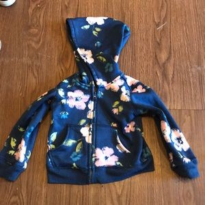 Tough skins floral hooded zip up sweater navy